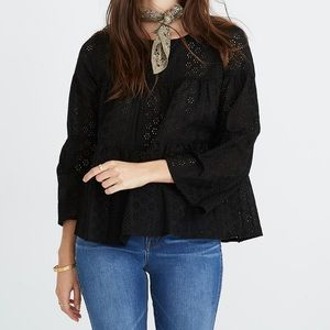 Madewell Eyelet Tiered Button Back Top NWT Sz XS
